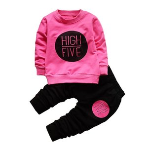 baby girls cute sets Children cotton shirt+ trousers Full sleeved letter sportswear 2pcs suit kids free shipping