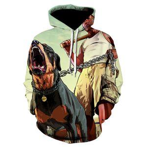 2020 new arrival of large car vgta watch 3D printed dog men's sweater gta5 coat men's hip hop game superstar hat