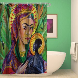 Household bathroom supplies polyester material national wind painted figures waterproof mildew-proof anti-wrinkle shower curtain with hooks
