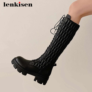 Lenkisen riding boots real cow leather single cross-tied round toe thick high heel lace up keep warm fashion knee high boots L31