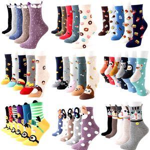 5pairs lot Womens Cartoon Socks Animal Fruit Cotton Funny Socks Character Cute Colorful Pattern Winter and Autumn Warm Socks 201012