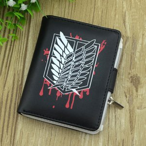 Ataque de anime en Titan Survey Corps Wings of Liberty Breve Coin Black Synthetic Car Wallet Titular de la tarjeta Bolso