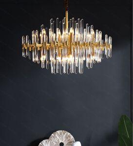 LED E14 Postmodern Cristal Cuivre Pendentif en or Lights.Pendant lumière Suspension Lampen chambre Luminaire Dinning