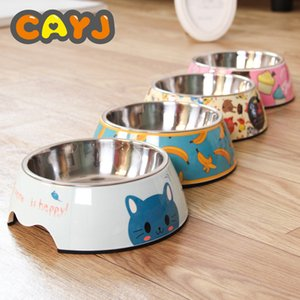 stainless steel dog bowl food double melamine pet feeding water cat supplies Y200917