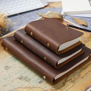 Anéis de couro clássico Binder Notebook A5 Pessoal A7 Genuine Couro Capa Jornal Diário Sketchbook Planner Papely1