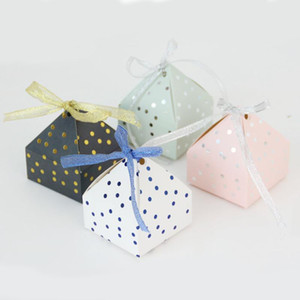 10 50 100pcs Pyramid Candy Box DIY Chocolate Favor And Gift Boxes With Ribbon For Kids Birthday Baptism Party Wedding Decoration