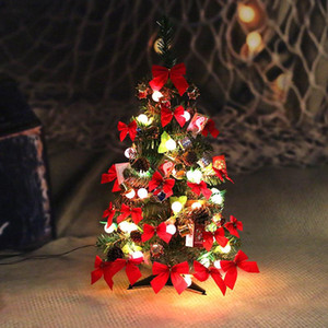 Table Xmas Tree Mini Christmas Pine Tree Set with LED String Lights Ornaments Home Holiday Gift Decoration Hogard