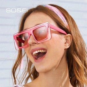 SOEI Moda Kare Renkli Kadınlar Güneş Marka Tasarımcı Vintage Çift Renkli Lens Gözlük Erkekler Güneş Gözlükleri óculos UV400
