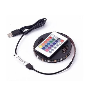 Dimmable Bright light for Tv Backlight colorful decoration 5050-2m-60 RGB led strip light 1M USB led strip with SMD Remote Controller
