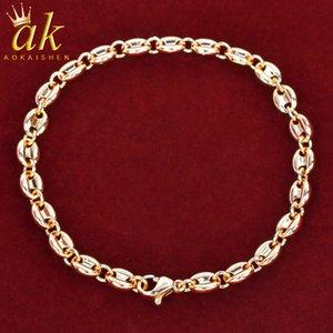 5MM di Hip Hop dei monili del braccialetto di colore dell'oro reale superficie liscia Charms cubana di collegamento Bling Moda
