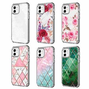 충격 방지 2 일 꽃 레이스 다이아몬드 유연한 TPU + PC 케이스 아이폰 (12) 미니 (12) 프로 맥스 5.4 6.1 6.7 인치 2020 듀얼 계층화 헤비 듀티 커버에