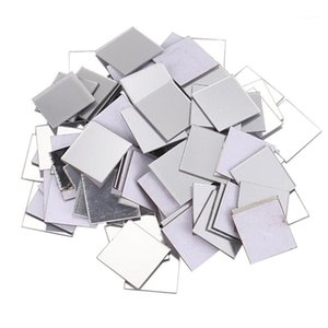 100 Piece Mirror Tile Wall Sticker 3D Decal Room Decor Stick (Silver)1