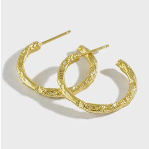 Pendientes del aro de la plata esterlina 925 del papel de estaño grano Earing para las mujeres original oro 18k Ins estilo simple joyería Flyleaf