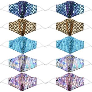Colorful mermaid face mask with filter pocket sequin rainbow anti dust face covers laser washable  masks AHA2226
