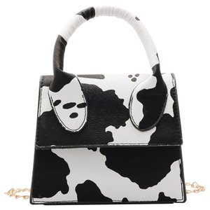 2020 Vintage Mini Cow Print Bag Women Tote Unique Shape Saddle Handbag Shoulder Bag Lady Retro Hand