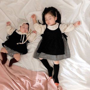 Baby Sister Outfit Clothes Sets 2Pcs Black And White Grid Skirt Girl Romper Long Sleeve Girls Jumpsuits Cute Lovely Sling Dress Q1113