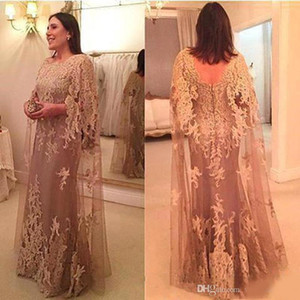 New Vintage Applique Lace Mother Of The Bride Dresses With Cape Sheath Backless Dresses Evening Wear Floor Length Wedding Guest Dress