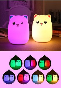 Silicone Soft USB Rechargeable Animal Night Cat Cat Lampe Lampe Adultes Enfants Bébé LED Lumineuse Nighty Lampadaire Lavage maritime GWE4193