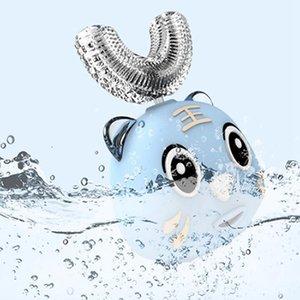 Niños cepillo de dientes eléctrico inteligente 360 grados de carga USB impermeable dientes Cepillo de dientes Cepillo de dientes en forma de U de dibujos animados Accesorios IIA749