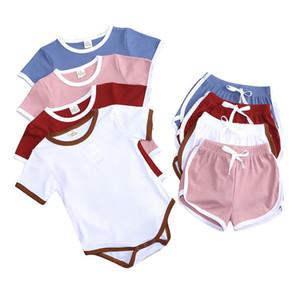 Newborn Jumpsuit Short Sleeve Triangle Ha Clothing+ Hot Pants 2pcs  set Baby Romper Suit Pure Summer Baby Pajamas zyy601