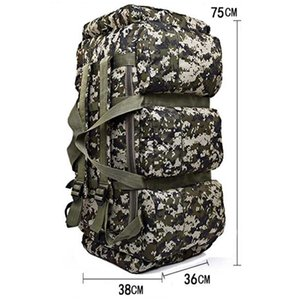 90L Large Capacity Outdoor Hiking Backpack Military Tactical Pack Camouflage Luggage Bag Camping Tent Quilt Container 9 Pocke