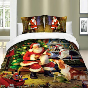 Christmas Series Santa Claus Xmas HD Printing Duvet   Quilt Cover Set Bed Linens Queen King Twin Bedding Set For Children Adults 201210