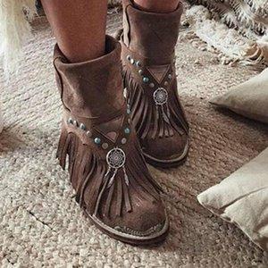 AKEXIYA 2020women Stivaletti Fashion Low tacco retro dell'unità di elaborazione Gladiatore nappa scarpe da donna Scarpe Mujer