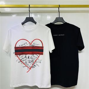 20FW Primavera Estate calda Europa America Moda Love Couple Tee striscia della maglietta donne di strada casuale cotone Tshirt