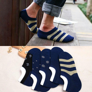 5 Pair Spring Summer Boat Socks Short Cotton Striped Male Ankle Socks Low Cut Shoe Liner Mens Invisible Slippers Non-slip1
