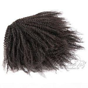 Индийские Virgin Natural Color Clips Eurestal Band Ties Drawstring Afro Kinky Hair Heakail Кудрявые настоящие человеческие волосы хвост