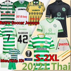 2020 21 Celtic Retro Futbol Formaları Edouard Kahverengi Duffy Taylor Christie 1980 87 89 91 92 9899 Futbol Gömlek Erkekler Kids Kiti Üniformaları