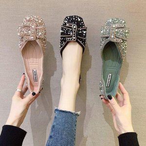 Flat step rhinestone side buckle women's shoes low-heel soft leather comfortable shoes pea decoration pearl beanie shoes