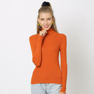 Sweater Women Knitted Ribbed Pullover Sweatershirts Long Sleeve Turtleneck Slim Jumper Soft Warm Pullovers Slim Fit Clothes Female