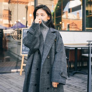 Plus Plus Size Fat Sister Mid-length Over-the-knee Woolen Coat for Fall winter 2021 New Thin Houndstooth Plaid Coat Women