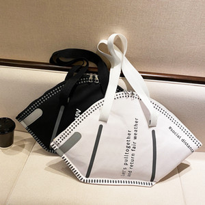 PB0007 Fashion 2 Personality Colors Mask Designer Capacity Shoulder White Large Handbag Face Bag Black Creative Shopping Kjuqx