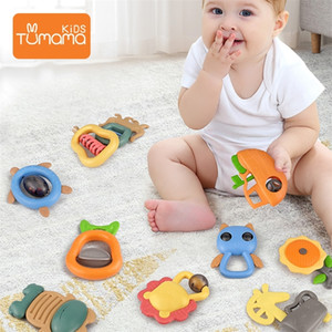 Tumama 4~11pcs Baby Rattles Toys Music Bed Bell Hand Hold Jingle Shaking Bell Plastic Animal Rattles Baby Toys 0-12 Months 201224