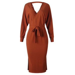 New Sexy Autumn V-neck Cross Belt Sweater Knit Dress Slim Winter Long Sleeve Pure Color Elegant Ladies Women Dresses 121607