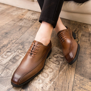 Italian style Leather Men shoes Black Wedding pary Oxfords Shoes Lace-Up Office Business Suit Men's Dress Shoes big size