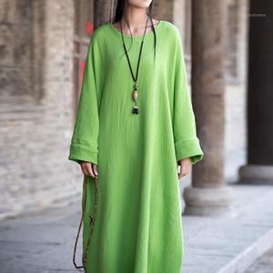 Sherhure Boy Uzun Pamuk ve Keten Yaz Vestidos Artı Boyutu Giyim Kadın Maxi Dress1
