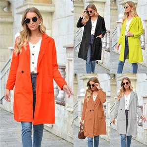 Solid Color Wool Blends Coat Womens Designer Lapel Neck Long Sleeve Slim Straight Coats Autumn Winter Fashion Casual Woolen Jacket For Women