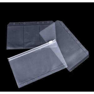 1pcs a5 a6 transparent zip lock envelope binder pocket refill office school supplies pencil bags for girls 01sE6