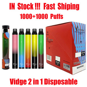 Original Vidge 2 en 1 Kit de périphérique jetable Kit de 6 ml Pods 2000 Puffs 950mAh Switch Batterie Stick pour Iget XXL Ezzy Super 100% authentique
