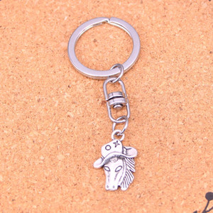 Fashion Keychain 23*16mm horse in cowboy hat Pendants DIY Jewelry Car Key Chain Ring Holder Souvenir For Gift