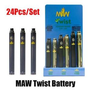 Maw Twist Bottom Tensione regolabile Batteria regolabile 510 Filo Tensione di olio spessa 3.3-4.8 V 650mAh 900mAh 1100mAh 24pcs Una scatola di visualizzazione DHL libera
