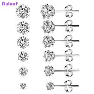 Dalvof 6 paires Stud en acier inoxydable Zircon boucles d'oreilles pour oreilles hypoallergéniques Multi-Piercing d'hommes, de femmes, Garçons Filles