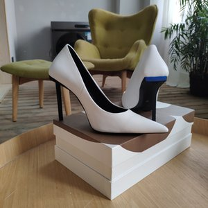 2020 Paris show high-heel sexy pointed shallow single shoes personality letter decorative candy color high-heeled shoes