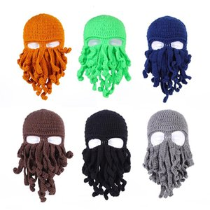 1PC Novelty Handmade Funny Tentacle Octopus Hat Crochet Beard Beanie Men's Women's Knit Wind Mask Cap Halloween Animal Gift