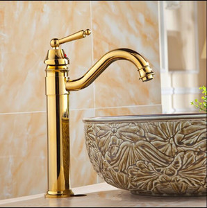 Bathroom Basin Faucet High Arch Antique Gold Chrome Black Oil Sink Faucet Water Copper Material Bathroom