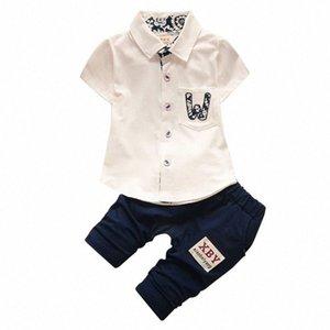 Sommer-Baby-Solid Color Printing Hemd Tops + Pants Set Summerborn Säuglingsbaumwollkleidung Outfits Sets QtlT #