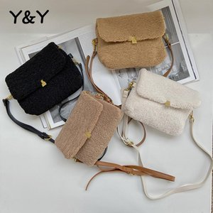 YY Furry Bags Femenino Bolsas blandas Fleece Capacidad grande Casual Invierno Cálido Peluche Prevento Hombro Mensajero